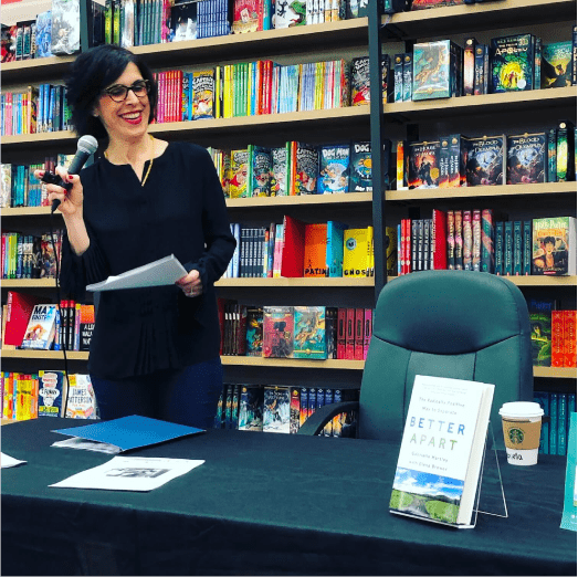 Image of Gabrielle Hartley speaking about her book, Better Apart